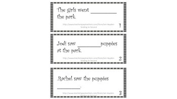 Homophones to, too, too Task Cards for Literacy Center or Notebook