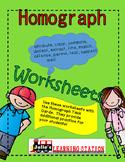 Homographs, Worksheets