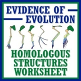 Evolution Evidence Homologous Structures Worksheet NGSS MS
