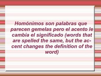Homónimos y la acentuación