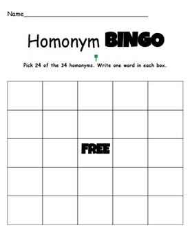 Homonym Bingo- Great for centers, small groups, or to play as a whole class!