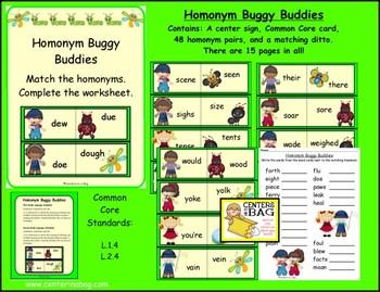 Homonym Buggy Buddies Center/Game (L.1.4, L.2.4)