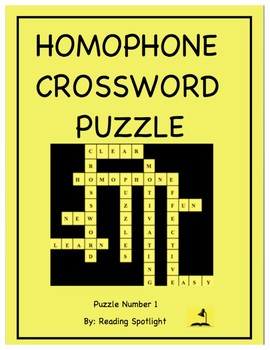 Homophone (Homonym) Crossword Puzzle No. 1 by Reading ...