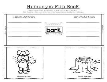 Homonym Flip Books and Worksheets Kindergarten and First Grade
