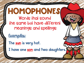Homonym, Homograph and Homophone Posters Cowboy Cowgirl Western Theme