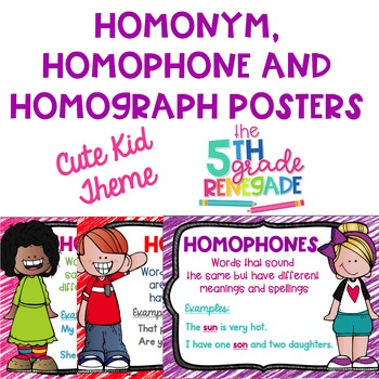 homonym homograph and homophone posters cute kids theme tpt