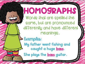 Homonym, Homograph and Homophone Posters Cute Kids Theme