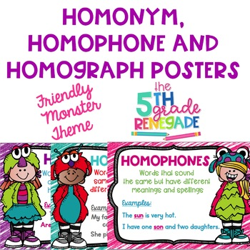 Homonym, Homograph and Homophone Posters Friendly Monster Theme