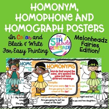 Homonym, Homograph and Homophone Posters Melonheadz Fairy Theme