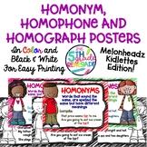 Homonym, Homograph and Homophone Posters Melonheadz Kidlettes Theme