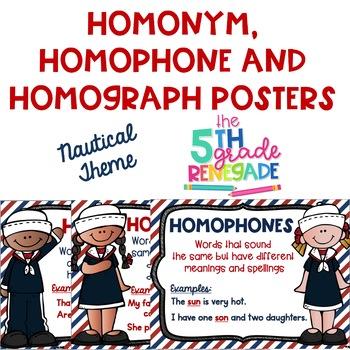 Homonym, Homograph and Homophone Posters Nautical Theme