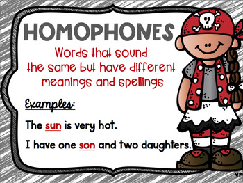 Homonym, Homograph and Homophone Posters Pirate Theme