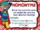 Homonym, Homograph and Homophone Posters Superhero Theme