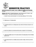 Homonym - Homophone Teaching Packet