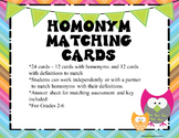 Homonym Matching Cards