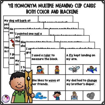 Homonym Multiple Meaning Words Clip Cards