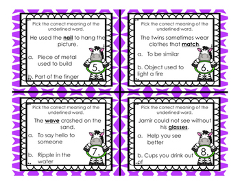 Homonym Multiple Meaning Words Task Cards