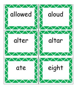 Homonym Pairs--cards