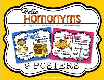 Homonym Posters Kindergarten and First Grade