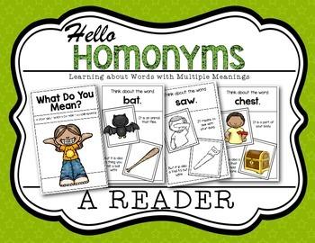 Homonym Reader Kindergarten and First Grade