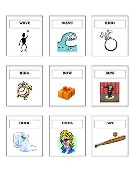 Homonym Sorting Cards