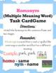 Homonym Task Card Matching Game & Challenge Quiz