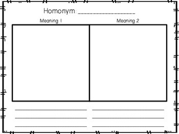 Homonym Task Cards and Activity