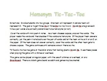 Homonym Tic-Tac-Toe