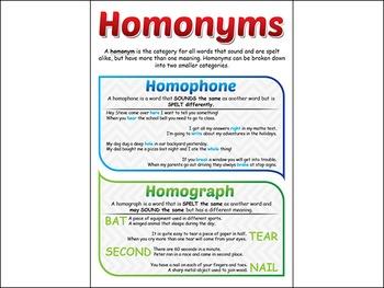 Homonym / Homophone / Homograph Poster