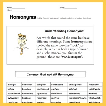 Homonyms 2 pg. Lesson/Worksheet, Handout, Quiz, Or Homework | Answer key L.4.1.G