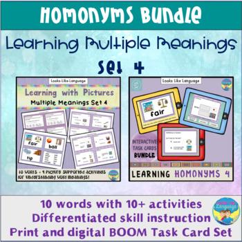 Homonyms Bundle Learning Multiple Meanings Set 4 Task Cards