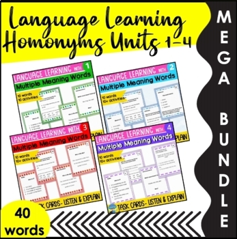 Homonyms Skills Bundle Sets 1 to 4 Applying Multiple Meanings Task Cards