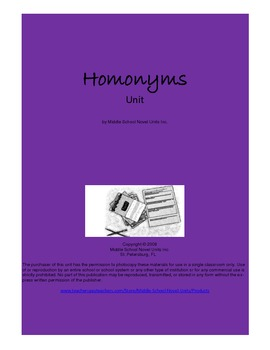 Homonyms Daily Grammar Mini Lessons