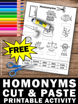 FREE Homonyms Worksheet, Homonyms Activity, Homonyms Speech Therapy