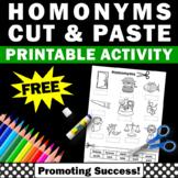 FREE Homonyms Worksheet, Speech Therapy Activity, ESL Vocabulary