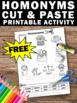 FREE Homonyms Cut and Paste Worksheet