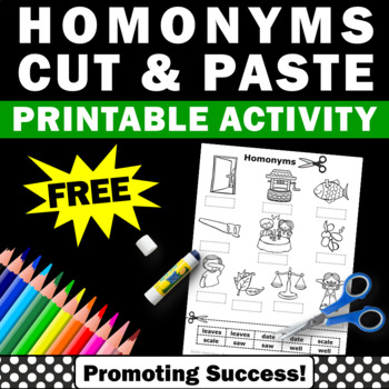 FREE Homonyms Word Work Cut and Paste Vocabulary Worksheet