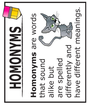 Homonyms Activities + COMPLETE Lesson and Full Color Poster (L.4.1g)