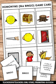 Homonyms Games BINGO Tic-Tac-Toe Speech Therapy Vocabulary ESL Activities