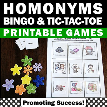 Homonyms Word Work Games BINGO Tic-Tac-Toe Literacy Center