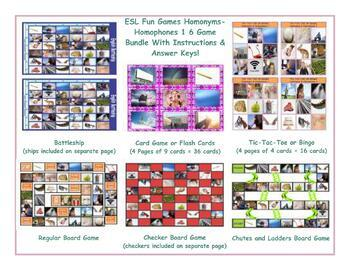 Homonyms-Homophones 1 Six Game Bundle-ESL Fun Games