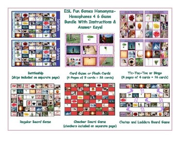 Homonyms-Homophones 4 Six Game  Bundle