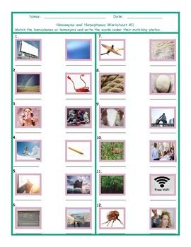 Homonyms-Homophones Worksheet 1