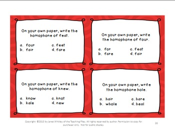 Homophones: I Have-Who Has Cards, Task Cards, Concentration Cards