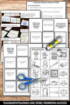 Homonyms Activities, ESL Vocabulary Activities, Homonyms Center