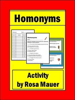 Homonyms Task Cards and Worksheet Activity