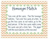 Homonyms Match (Reading Street Unit 1, Week 1)