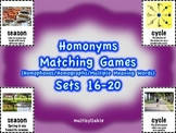 Homonyms Matching Games Sets 16-20 Multisyllable (Homophones/Homographs)