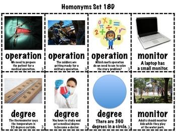 Homonyms Matching Games Sets 16-20 Multisyllable (Homophones/Homographs)