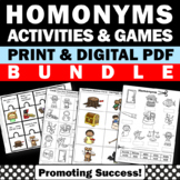 Homonyms Games, Language Arts Interactive Notebook Worksheets BUNDLE